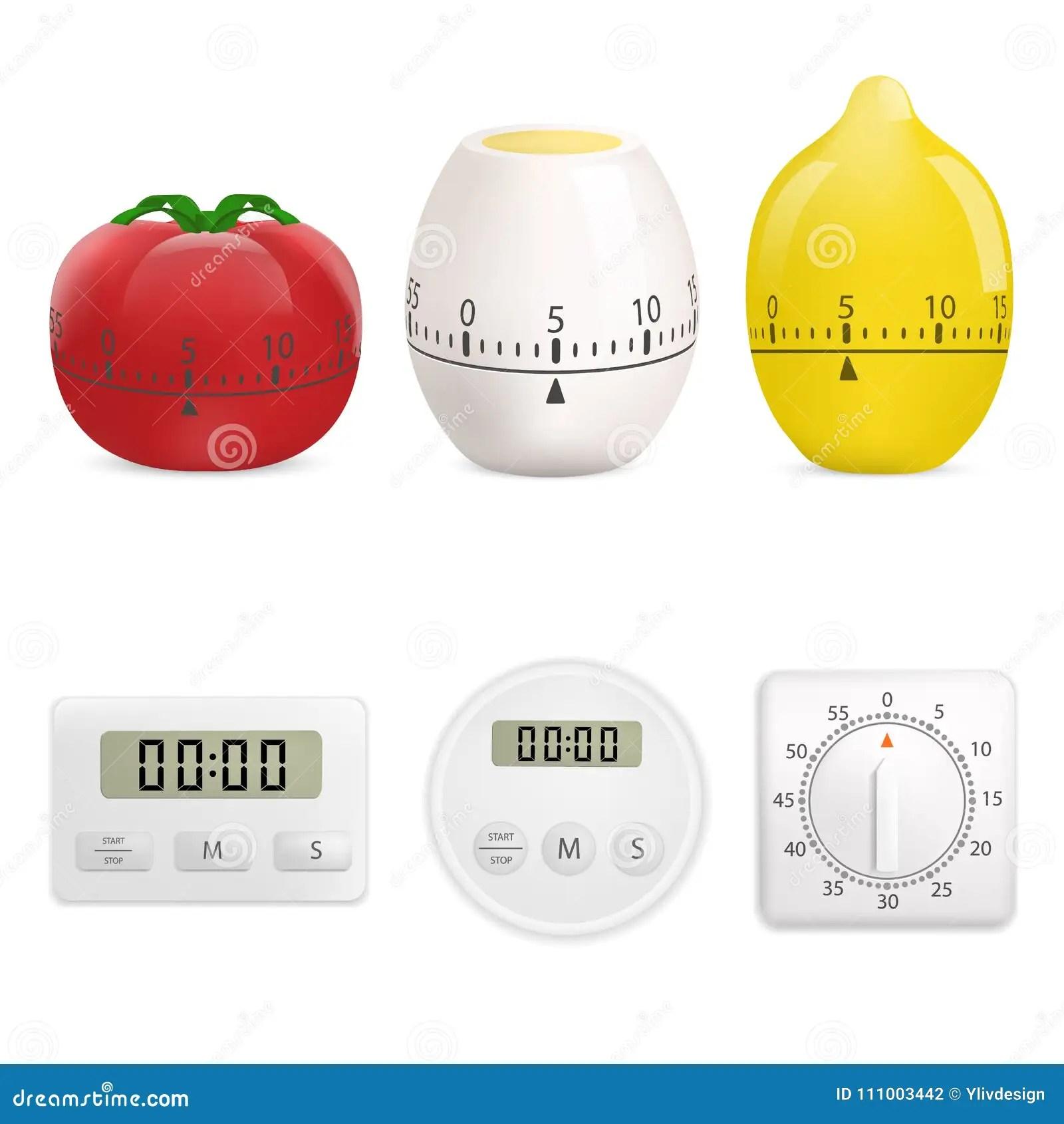 kitchen timers stainless faucet 厨房定时器大模型集合 现实样式向量例证 插画包括有空白的 红色 嘲笑 现实样式