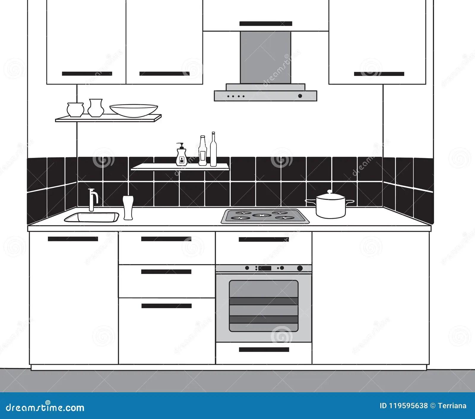 kitchen design tools my own 厨房室内部剪影概述成套工具图纸设计库存例证 插画包括有厨房 前面 厨房室内部剪影概述厨房图纸设计有现代家具的