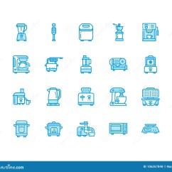 Home And Kitchen Stores Outdoor Frame Kits 厨房小装置线象烹调工具标志的家庭食物配制设备 搅拌器 咖啡机器向量 咖啡机器 微波 多士炉 研磨机电子商店的标志映象点完善的64x64