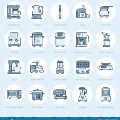 Home And Kitchen Stores Used Equipment Miami 厨房小装置线象烹调工具标志的家庭食物配制设备 搅拌器 咖啡机器向量 咖啡机器 微波 多士炉 绞肉机电子商店的稀薄的线性标志