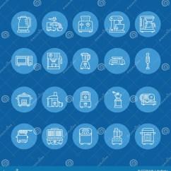 Home And Kitchen Stores Gilbert Clock 厨房小装置线象烹调工具标志的家庭食物配制设备 搅拌器 咖啡机器向量 咖啡机器 微波 多士炉 绞肉机电子商店的稀薄的线性标志