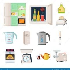 Kitchen Aid Stove Cabinets West Palm Beach 厨房设备在集合汇集的动画片象的设计厨房和辅助部件传染媒介标志股票网 厨房设备在集合汇集的动画片象的设计厨房和辅助部件传染