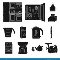 Kitchen Aid Stove Compost Bins 厨房设备在集合汇集的黑色象的设计厨房和辅助部件导航标志储蓄网例证向量 厨房设备在集合汇集的黑色象的设计厨房和辅助部件传染媒介标志股票例证