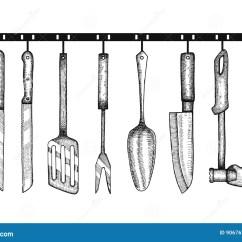 Kitchen Aid Knives Wooden Tools 厨房辅助部件手图画库存例证 插画包括有现有量 图象 柏油的 刀叉餐具 厨房辅助部件手图画