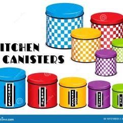 Kitchen Canister Aid Kettle 厨房食物存贮罐集合 棋盘设计 多co 向量例证 插画包括有容器 颜色 与盒盖的五个棋盘多颜色食物存贮厨房罐在木架子的小 中等和大大小标签 曲奇饼 面粉 咖啡 糖 茶背景查出的白色兼容的eps8