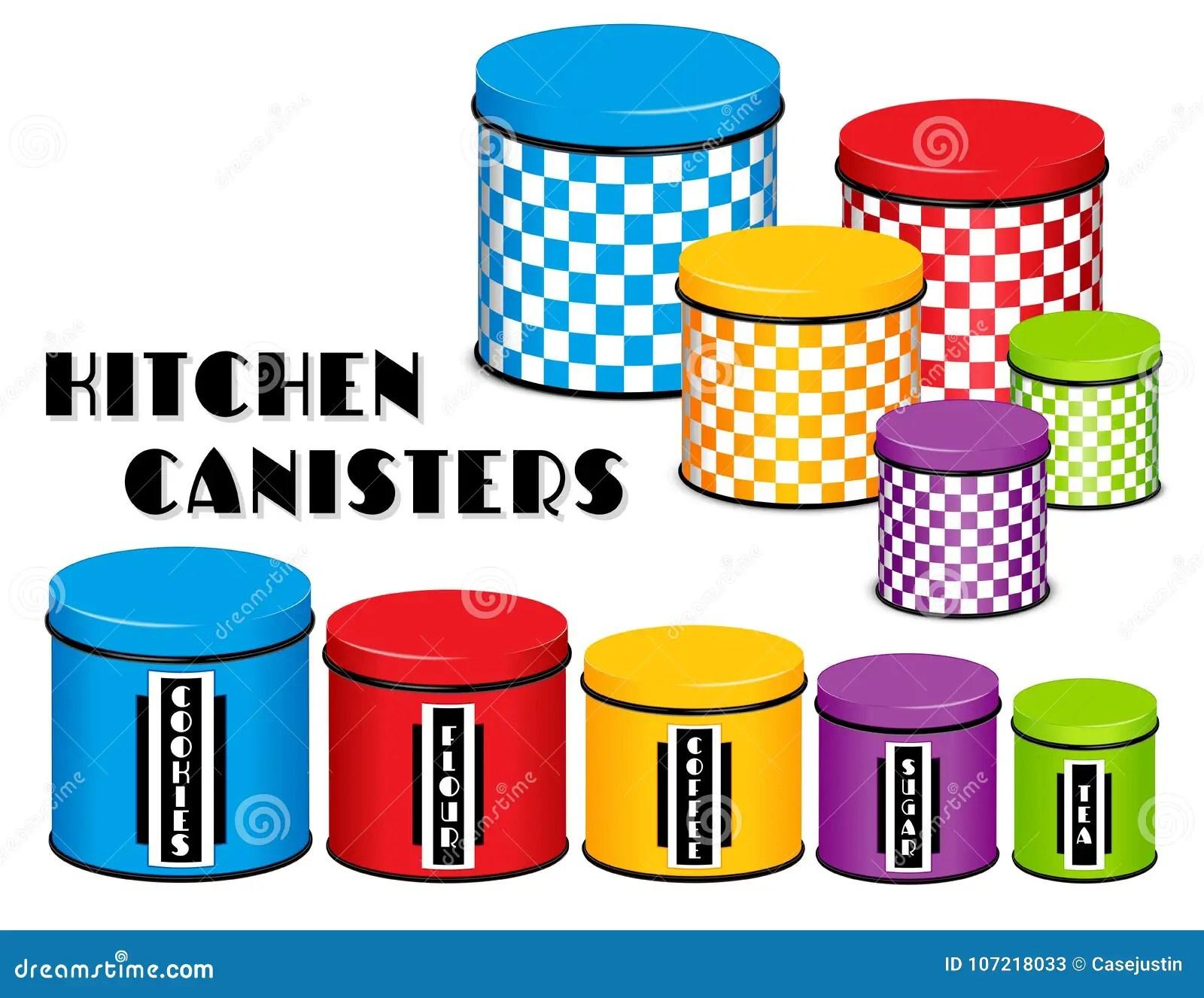 kitchen canister planning 厨房食物存贮罐集合 棋盘设计 多co 向量例证 插画包括有容器 颜色 与盒盖的五个棋盘多颜色食物存贮厨房罐在木架子的小 中等和大大小标签 曲奇饼 面粉 咖啡 糖 茶背景查出的白色兼容的eps8
