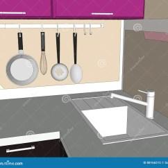 Brown Kitchen Sink Inexpensive Cabinet Makeovers 厨房水槽和装置画库存例证 插画包括有browne 查出 厨具 照亮 设计 厨房水槽和装置画