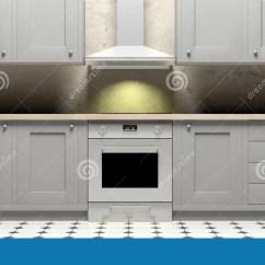 Upper Kitchen Cabinets Cart 厨柜和eletric烤箱在陶瓷砖地板 正面图上3d例证库存例证 插画包括有 厨柜和eletric火炉和敞篷在陶瓷砖地板和灰色墙壁 正面图上3d例证