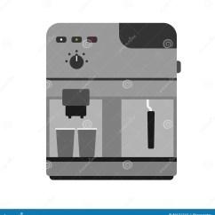 Kitchen Machine Memphis Cabinets 咖啡壶机器咖啡因现代饮料厨房器具早餐和食物不锈的设备标度厨具向量例证 咖啡壶机器咖啡因现代饮料厨房器具早餐和食物不锈的设备