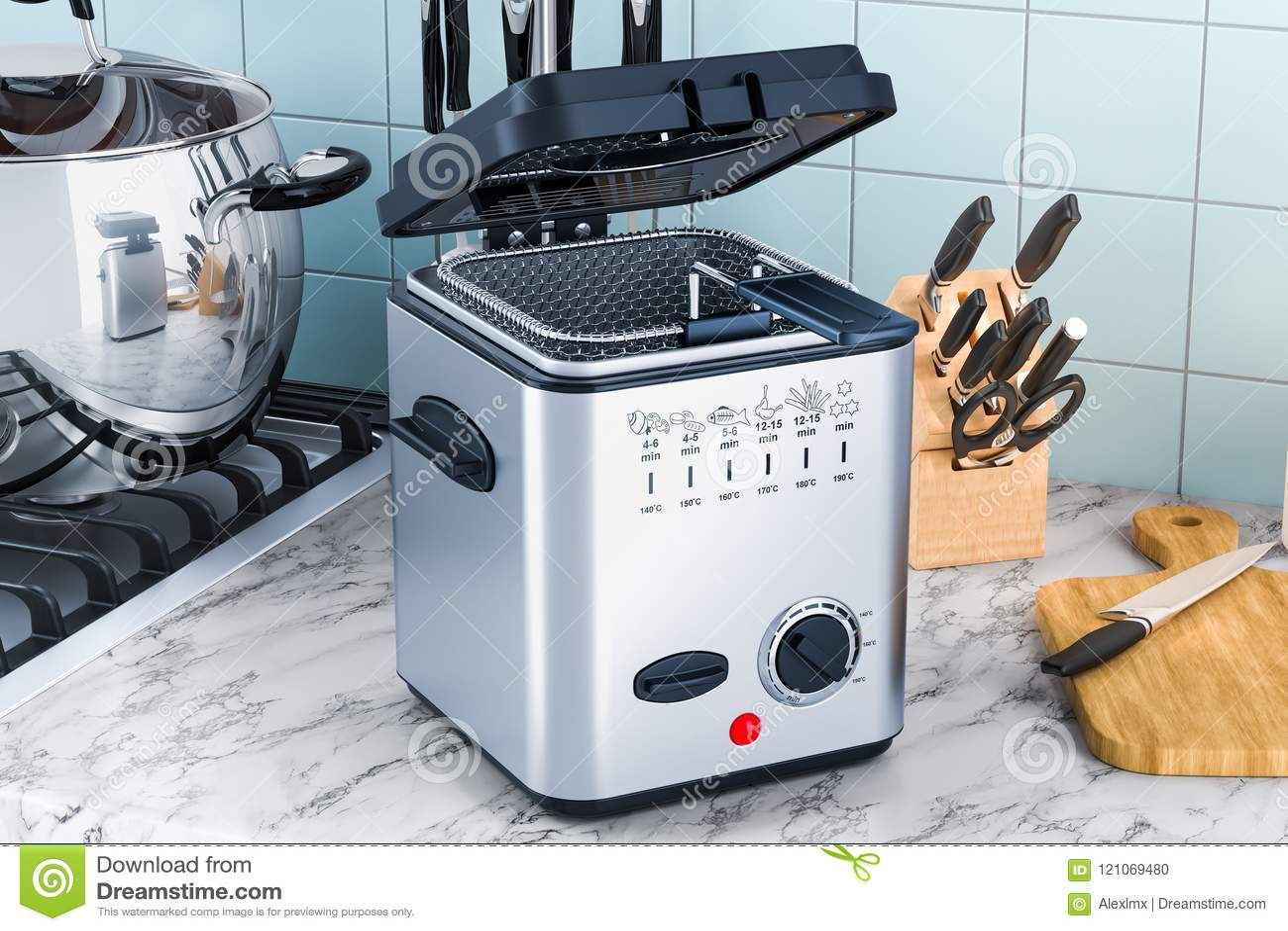 kitchen fryer facet 在厨房用桌上的国内深炸锅3d翻译库存例证 插画包括有电子 烹饪 技术 在厨房用桌上的国内深炸锅3d翻译