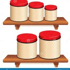 Kitchen Canister Cabinets Doors Only 在木架子设置的厨房罐向量例证 插画包括有容器 存贮 木头 磁道 空白 与网格设计的五个厨房食物存贮罐和在小 中等和大大小的红色盒盖在木架子背景查出的白色兼容的eps8