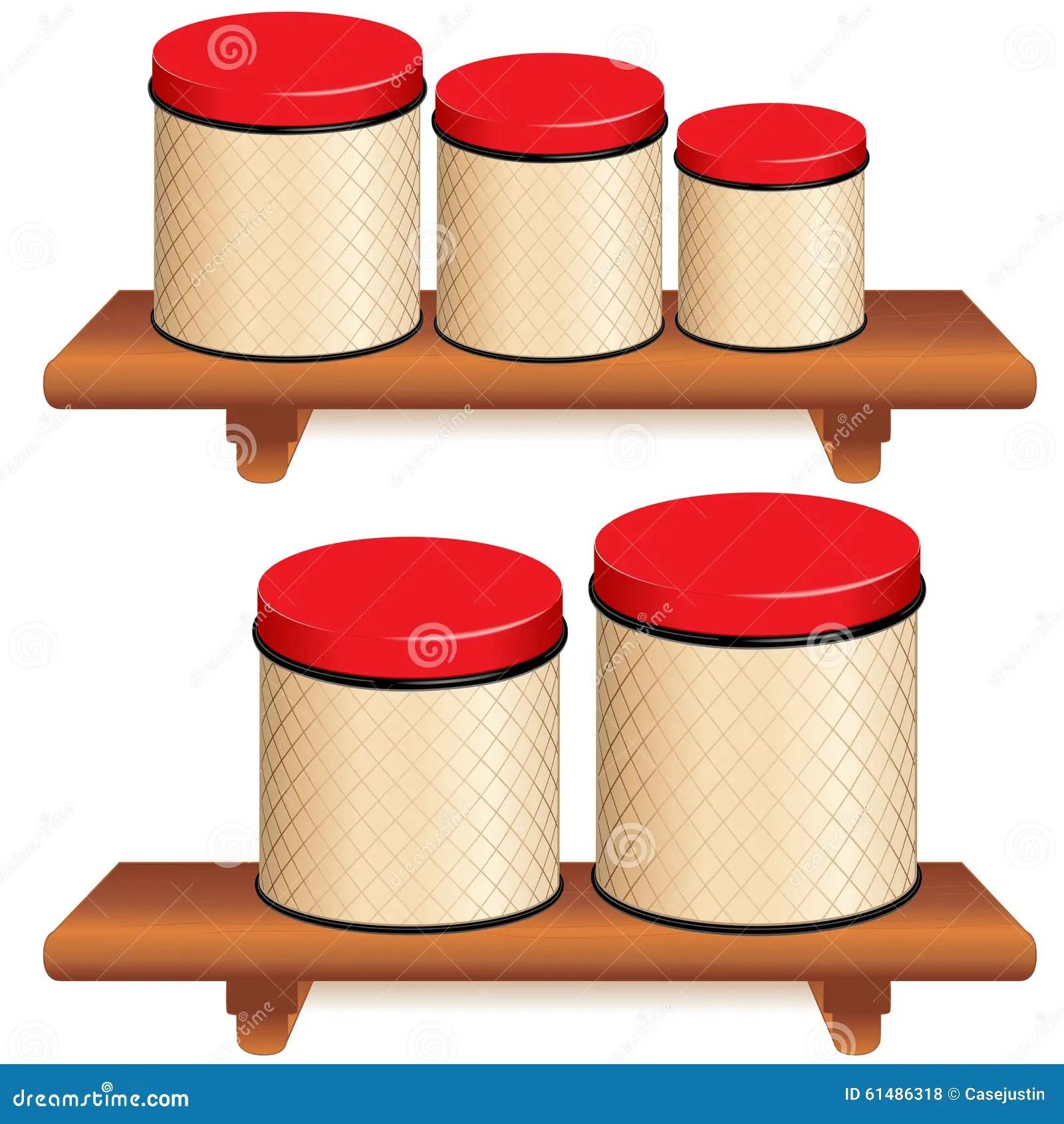 kitchen canister samsung appliance reviews 在木架子设置的厨房罐向量例证 插画包括有容器 存贮 木头 磁道 空白 与网格设计的五个厨房食物存贮罐和在小 中等和大大小的红色盒盖在木架子背景查出的白色兼容的eps8