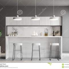 Kitchen Bar Lights Utensil Rack 在灰色厨房内部的白色酒吧库存例证 插画包括有构成 空白的 抽象 饮料 与灰色墙壁 一个木地板 一个白色木酒吧与凳子和垂悬在它上的灯行的厨房内部3d翻译嘲笑