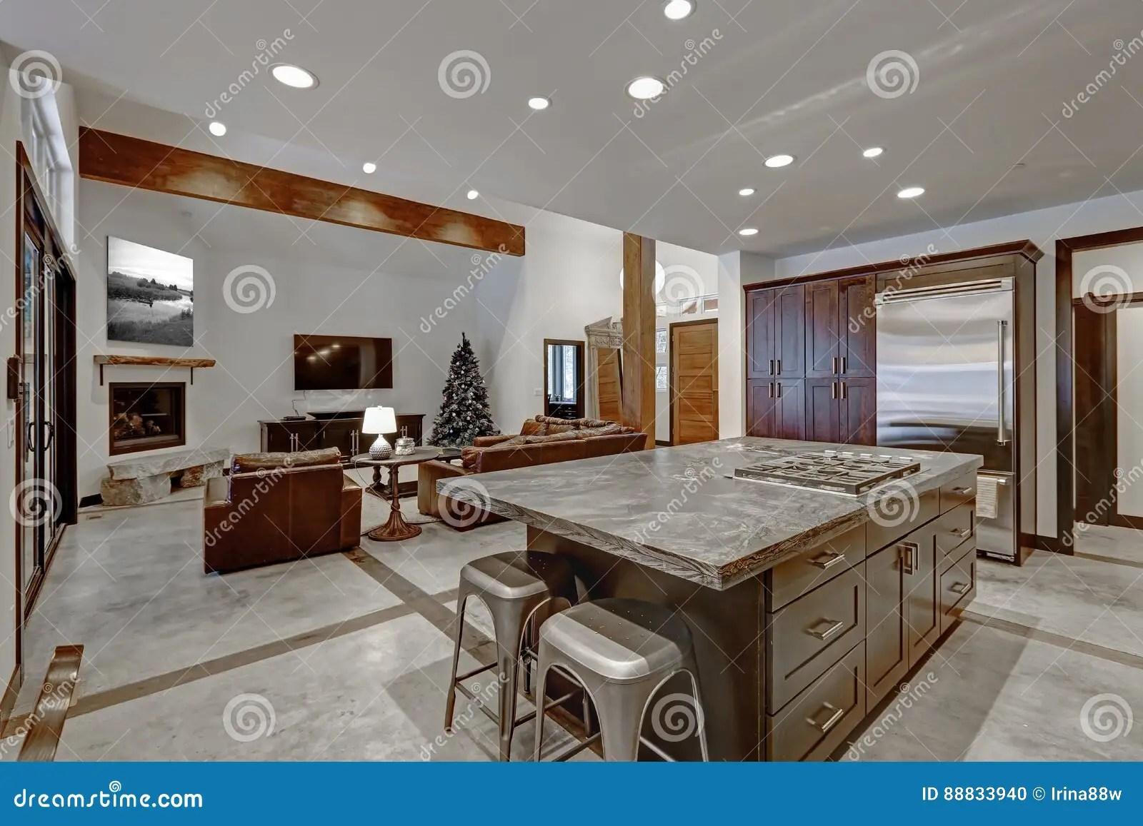 kitchen floor designs eat in sets 在灰色口气的现代开放地板厨房设计库存照片 图片包括有拱道 空间 典雅 在灰色口气的现代开放地板厨房设计