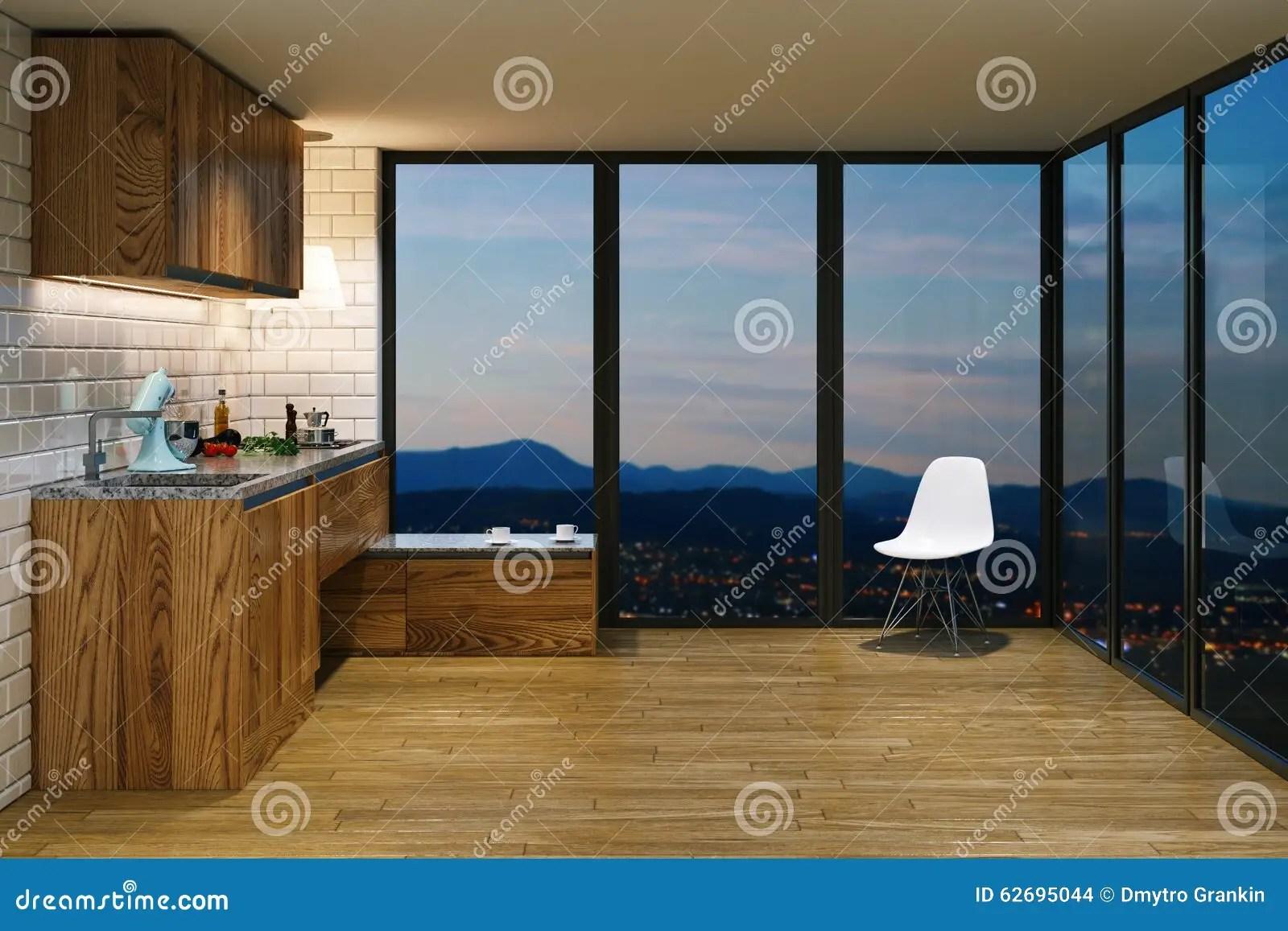 kitchen aid colors soap dispenser for 在现代内部的木厨房家具从b的晚上视图库存例证 插画包括有里面 庄园 在现代内部的木厨房家具从b的晚上视图