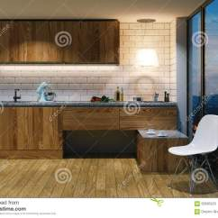 Kitchen Aid Colors Paint For Walls 在现代内部的木厨房家具从b的晚上视图库存例证 插画包括有设计 布琼布 在现代内部的木厨房家具从b的晚上视图