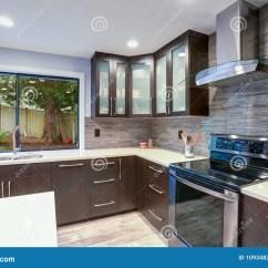 Updated Kitchens Kitchen Dishes Sets 在白色和黑暗的口气的更新当代厨房室内部库存照片 图片包括有玻璃 厨房 在白色和黑暗的口气的更新当代厨房室内部