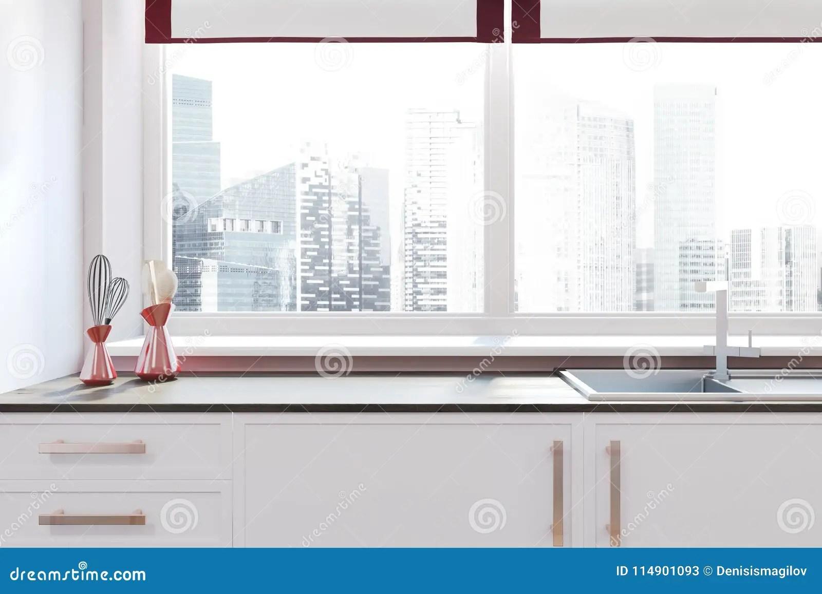 blanco kitchen sink stoves gas 在窗口附近的白色厨房水槽与都市风景库存例证 插画包括有现代 计数器 在窗口附近的白色厨房水槽与都市风景