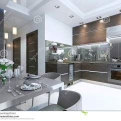 Marble Kitchen Floor High Flow Faucet Aerator 在褐色的厨房当代与白色墙壁和大理石地板库存例证 插画包括有平面 在褐色的厨房当代与白色墙壁和大理石地板