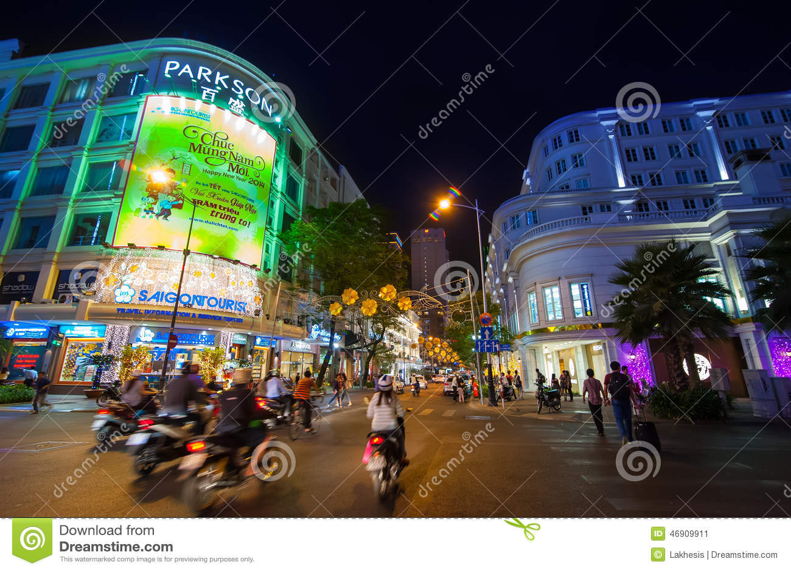 夜生活場面在胡志明市(西貢),越南 編輯類照片. 圖片 包括有 購物中心, 目的地, 自行車, 市場, 吸引力 - 46909911