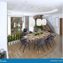 Table Kitchen Metal Shelves Ikea 大餐桌在厨房区域库存图片 图片包括有拱道 Beautifuler 前浆手 蜡烛 大餐桌在与八的厨房区域布置了椅子和美丽的枝形吊灯在桌一个现代风格的设计餐厅3d回报
