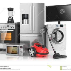 In Stock Kitchens Affordable 套家庭厨房器具库存例证 插画包括有清洁 国内 微波 烤箱 工具箱 不 套家庭厨房器具