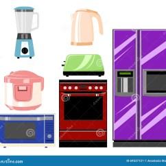 Kitchen Aid Grinder Whirlpool Appliances 套家庭厨房技术 微波和烤箱 研磨机得出花卉草向量的背景在平的样式的 研磨机得出花卉草向量