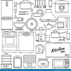 Kitchen Aid Ovens Island With Bar 套线象厨房器具和辅助部件烤箱和平底深锅 冰箱和茶壶 火炉和水壶等高象 冰箱和