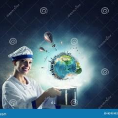 Kitchen Magician Fan For Exhaust 她是魔术师作为厨师混合画法库存图片 图片包括有快乐 魔术师 4月 做在平底锅上的年轻可爱的厨师妇女魔术这个图象的元素由美国航空航天局装备