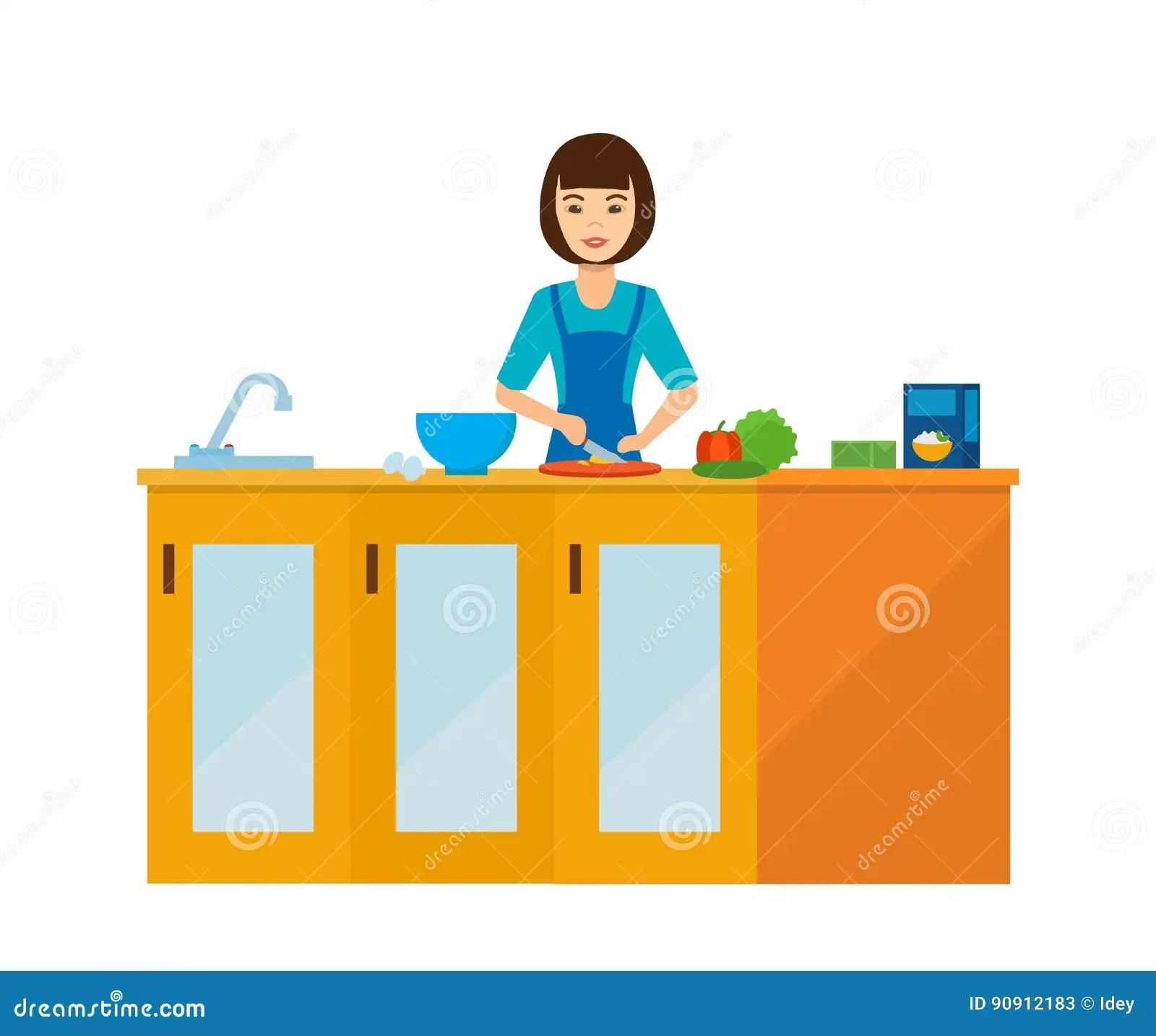 kitchen prep table refacing cabinets 主妇女孩在厨房里在桌上 准备食物向量例证 插画包括有谷物 里面 食谱 准备食物