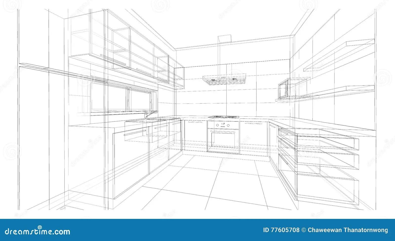 framed prints for kitchens gel kitchen mat 室内设计 厨房库存例证 插画包括有设计 出票人 功能 容易 食物 厨房