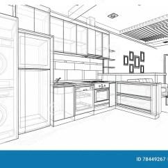 Framed Prints For Kitchens Ss Kitchen Equipments 室内设计 厨房库存例证 插画包括有房子 编译 设计 微波 功能 线路 厨房