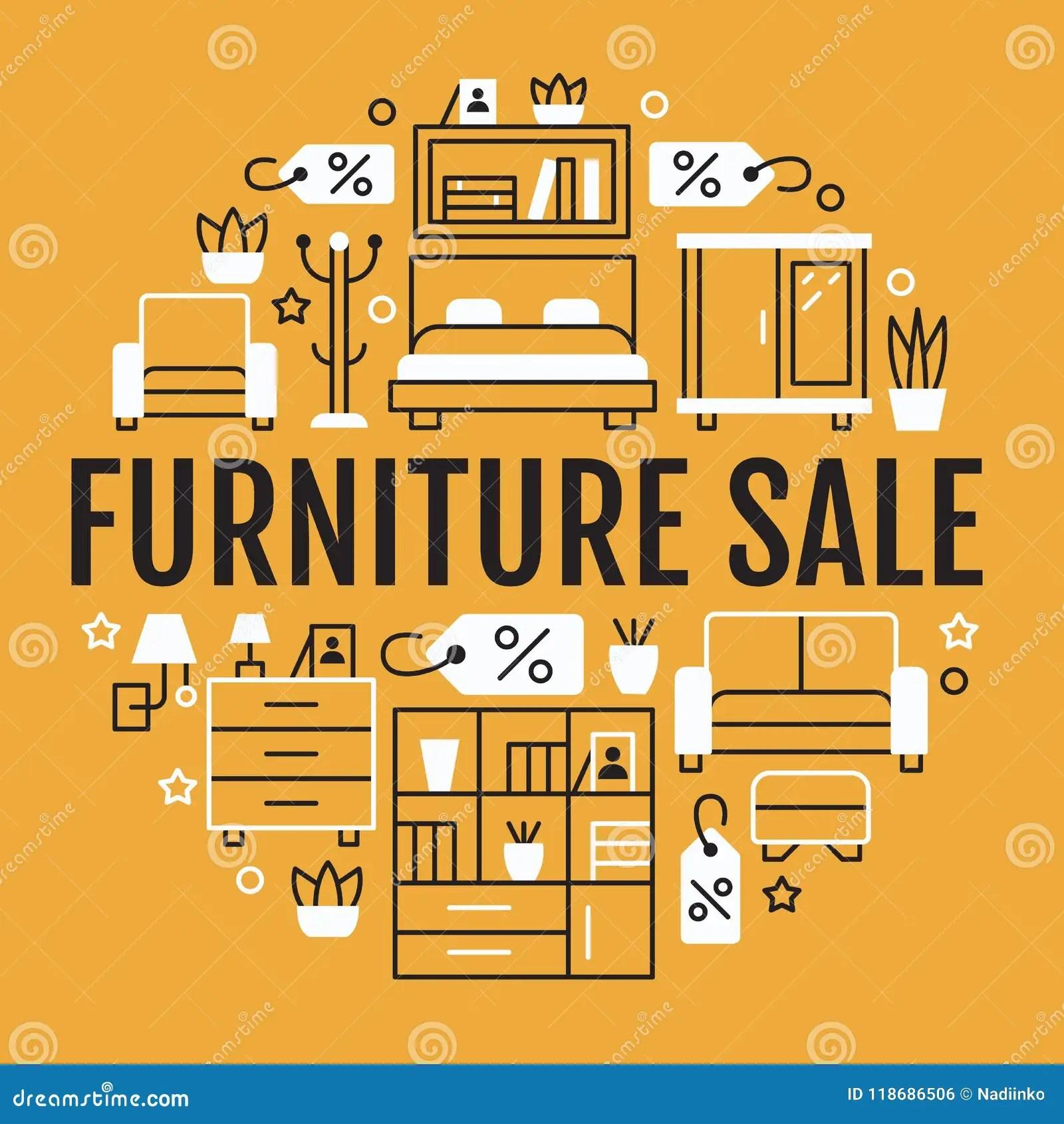home and kitchen stores buy cabinets 家具销售与平的线象的横幅例证客厅 卧室 家庭办公室椅子 厨房 沙发 家庭办公室
