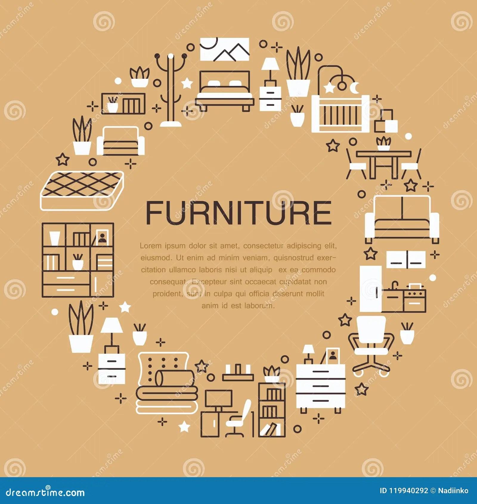 home and kitchen stores quartz counters 家具销售与平的线象的横幅例证客厅 卧室 家庭办公室椅子 厨房 沙发 家庭办公室