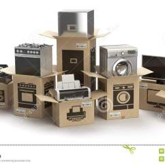 Mobile Home Kitchens Paula Deen Kitchen Cabinets 家庭厨房器具和家用电子设备在箱子isola 库存例证 插画包括有烤箱 微波