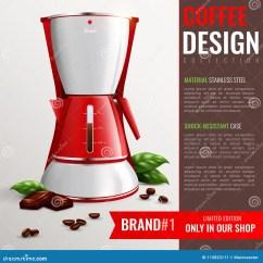 Home And Kitchen Stores Ge Appliances 家庭厨房器具海报向量例证 插画包括有家庭 急性 设计 模式 金属 家庭与咖啡机器品牌的广告的厨房器具海报在被促进的商店现实传染媒介例证换了