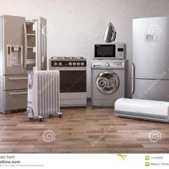 Home And Kitchen Stores Window Treatments For Kitchens 家庭appliancess 套家庭在新的a的厨房技术库存例证 插画包括有金属 套家庭厨房技术在新的公寓或厨房电子商务网上互联网商店nad交付装置概念