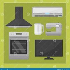 Home And Kitchen Stores Apartment Cabinet Ideas 家电厨房设备国内电工具技术家庭洗衣店和清洗的小组机器向量例证 插画 家电厨房设备国内电工具技术家庭洗衣店和清洗的小组机器内部电传染媒介例证现代商店当代平的样式对象