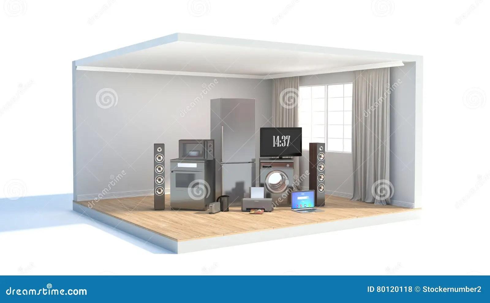 kitchen design tools metal canisters 工具设计家图标厨房设置了您煤气灶 电视戏院 冰箱空气conditi 库存例证 冰箱空气