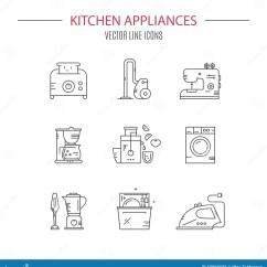 Kitchen Design Tools Food Truck Equipment 工具设计家图标厨房设置了您向量例证 插画包括有榨汁器 移动 厨房 厨房器物传染媒介线汇集在做的象收藏线型infographic 横幅设计或网页的概念现代pictogramm收藏家庭项目