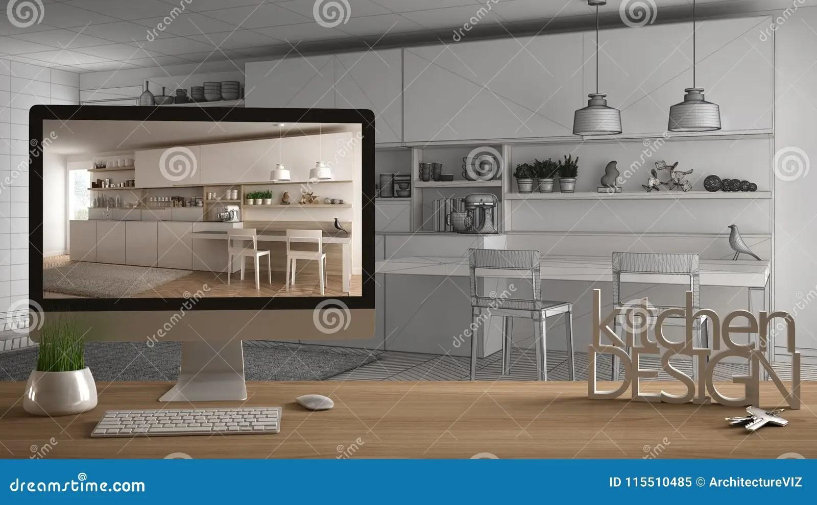 kitchen designer stand alone cabinets 建筑师设计师项目概念 与房子钥匙 3d信件词厨房设计的木桌和桌面显示的 3d信件词厨房设计