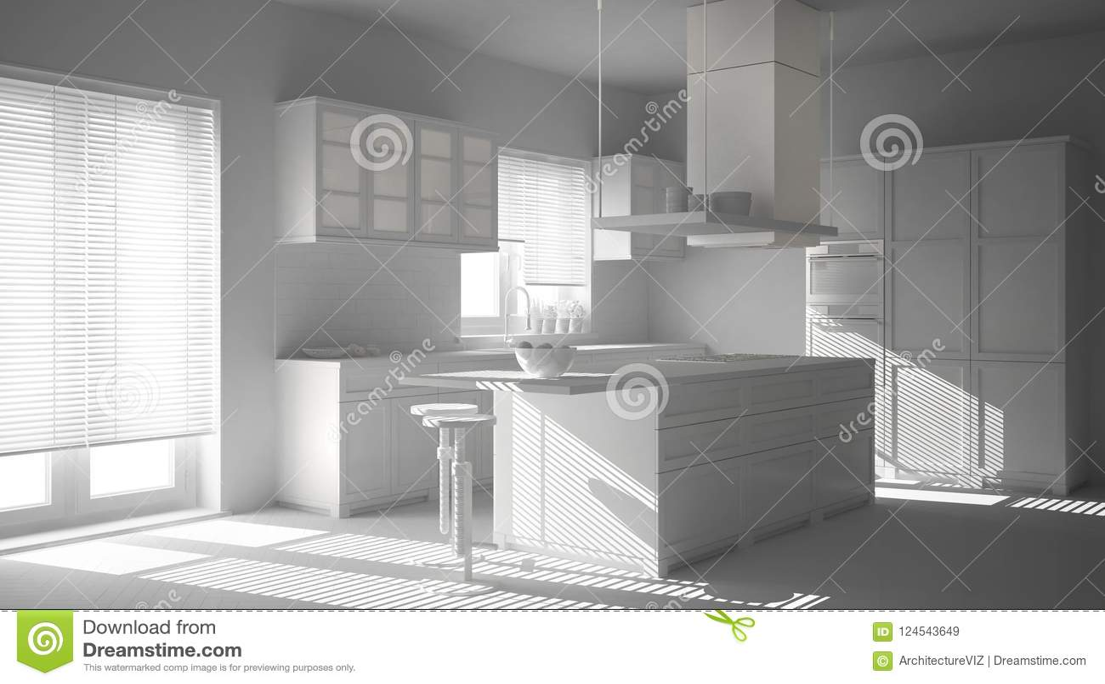 industrial kitchen stools outdoor appliances packages 总白色项目草稿 室内设计 现代木和白色厨房有海岛 凳子和窗口的 木条 木条地板人字形地板