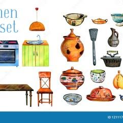 Kitchen Chair Slipcovers Rustic Country Decor 手拉的水彩套风格化厨房内部和对象烤箱 Refrigirator 桌 椅子和器物 在白色背景和器物隔绝的桌 椅子印刷品 卡片和纸小家家的模板