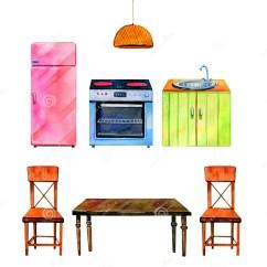 Kitchen Aid Ovens Decorating Ideas For 手拉的水彩套风格化厨房内部烤箱 Refrigirator 桌和椅子库存例证 插画 桌和椅子