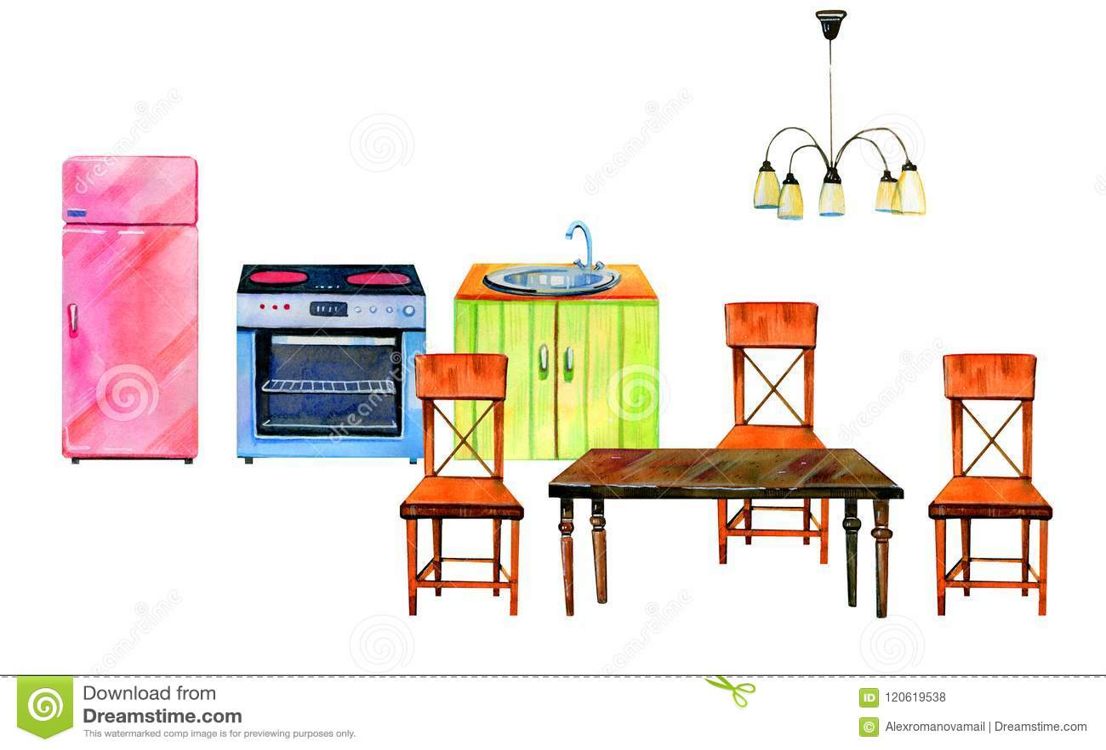 kitchen chair slipcovers minnesota cabinets 手拉的水彩套风格化厨房内部烤箱 refrigirator 桌和椅子库存例证 插画 桌和椅子