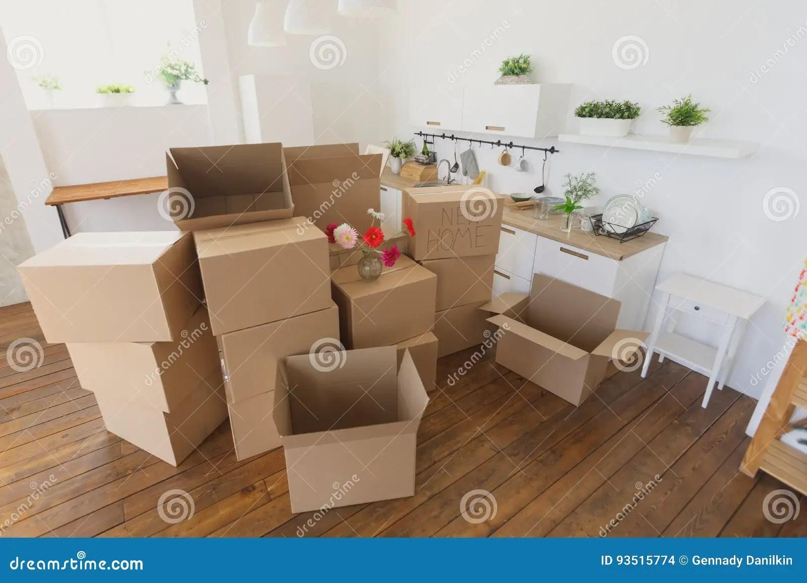 mobile home kitchens macy's kitchen appliances 打开在新的家庭和投入的事的箱子在厨房里 大纸板箱在新的家移动向一个新 大