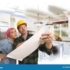 Kitchen Contractor Photos Of Kitchens 承包商谈论计划与妇女 厨房图画照片是库存例证 插画包括有建筑 帽子 厨房图画照片是