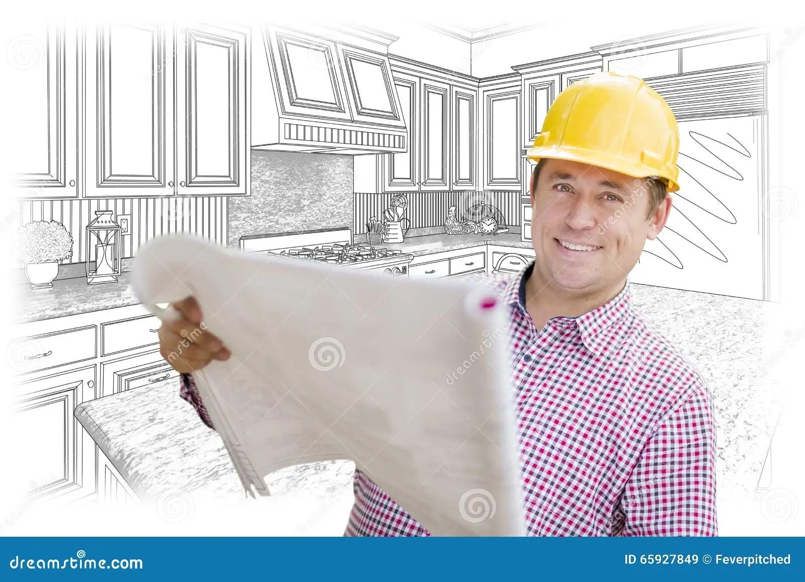 kitchen contractor countertop inserts 拿着在习惯厨房图画的承包商图纸库存图片 图片包括有铅笔 建筑 格式 拿着在习惯厨房图画的微笑的承包商图纸