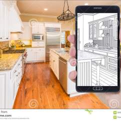Kitchen Phone Purple Cabinets 拿着巧妙的电话的手显示厨房照片beh图画库存图片 图片包括有设备 设计 拿着巧妙的电话的手显示习惯厨房照片图画后边