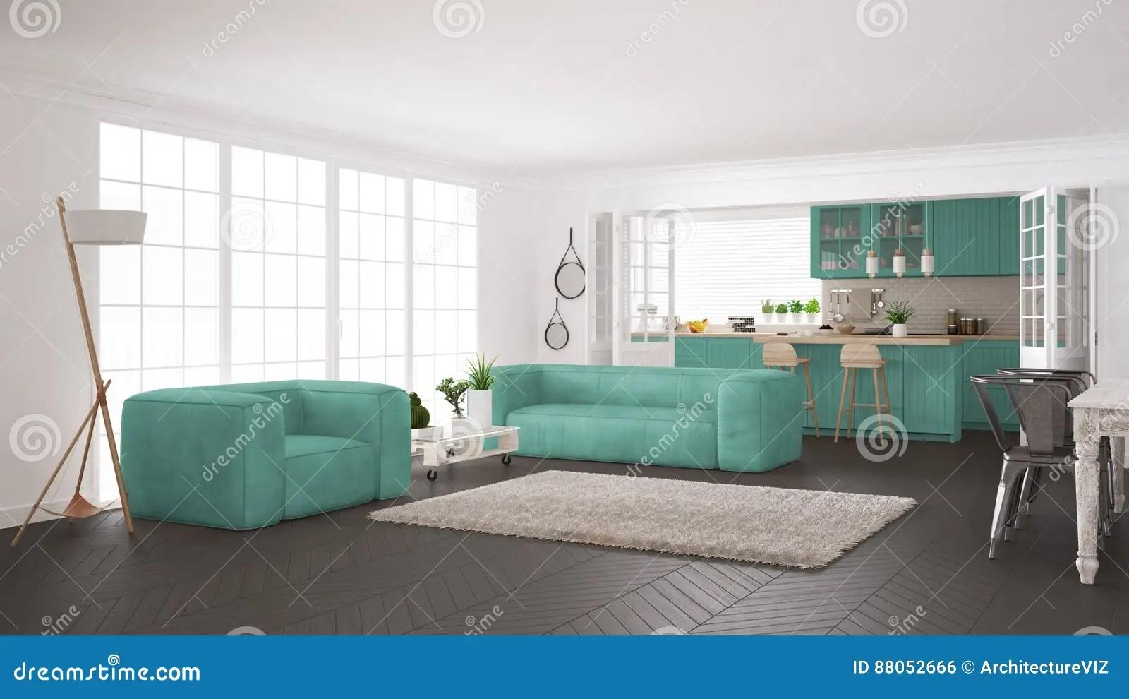 turquoise kitchen decor lights lowes 最低纲领派白色和绿松石生活和厨房 斯堪的纳维亚语库存例证 插画包括有 斯堪的纳维亚经典室内设计